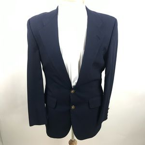 Burberry's Navy Blue 2 Button Wool Blazer